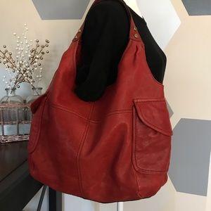 **NEW**Fossil Red Modern Cargo Shopper Bag